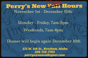 Perrys fall-winter hours